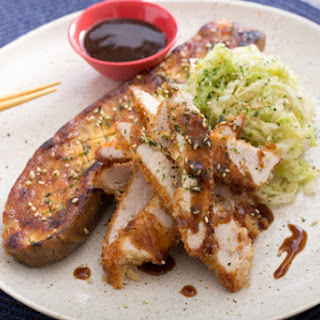 Chicken Katsu with Miso-Roasted Japanese Eggplant & Savoy Cabbage