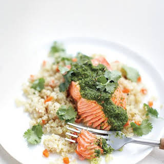 Moroccan Steamed Salmon with Quinoa and Carrots.