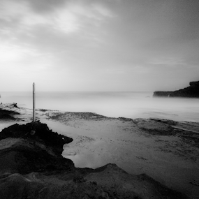 by Kosmas Fikie Aryadi - Landscapes Waterscapes ( blackandwhite, bali, indonesia, seascapes, weather, rock, travel, place, landscapes )