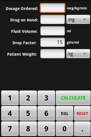 InfusionCalc - screenshot
