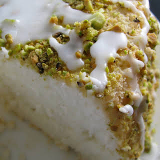 Lime Angel Food Cake with Pistachios and Lime Glaze.