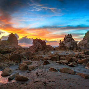 Rock Kingdom by Rio Tanusudiro - Landscapes Beaches ( clouds, coral, colourful, afternoon, sunset, rock, beach, dusk, formation,  )