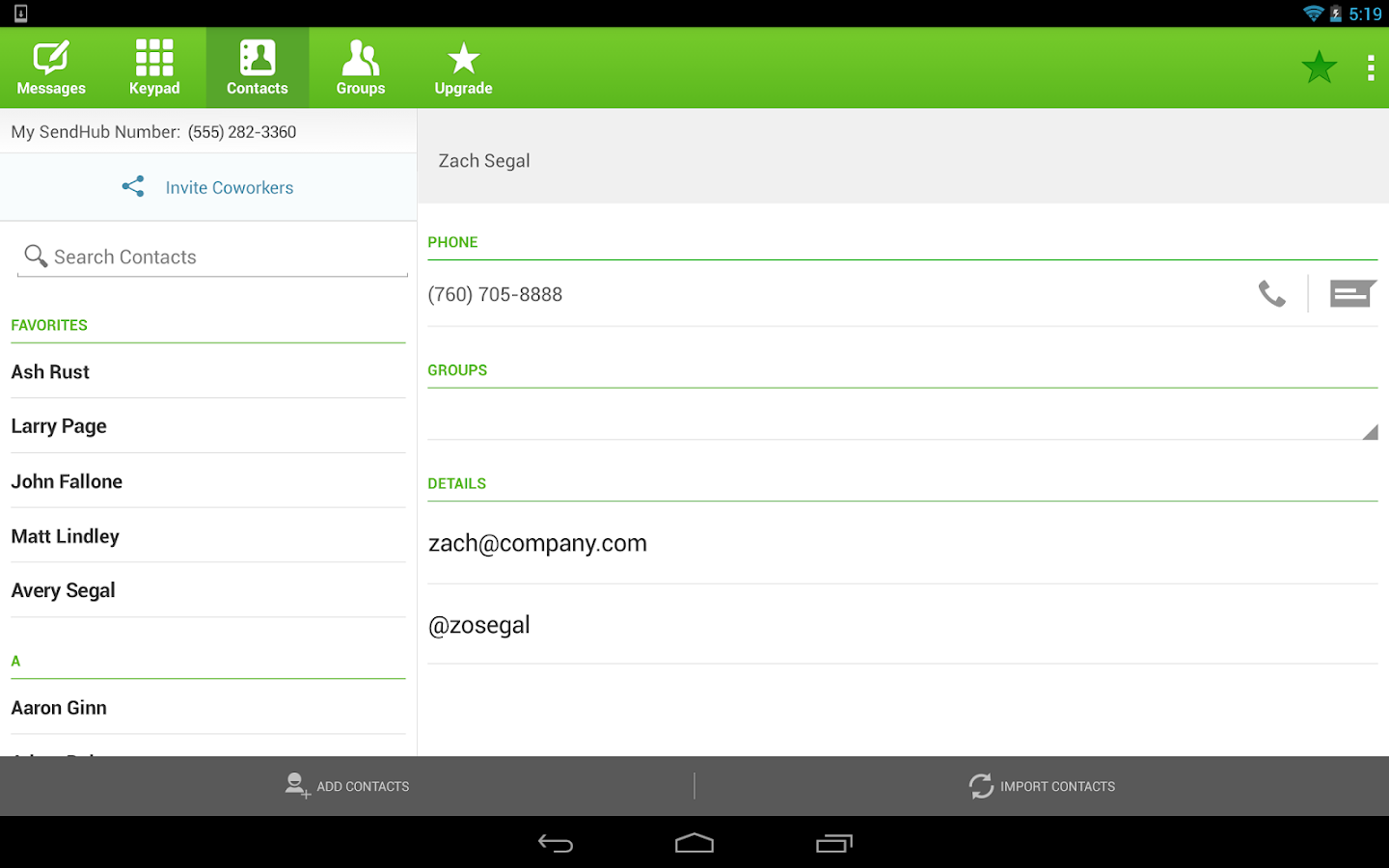 SendHub Business PBX - screenshot