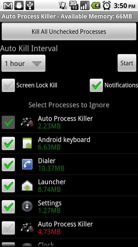 Auto Process Killer Free -2.0+ - screenshot