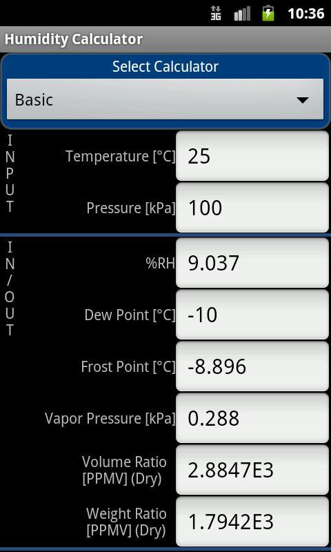 Humidity Calculator- screenshot