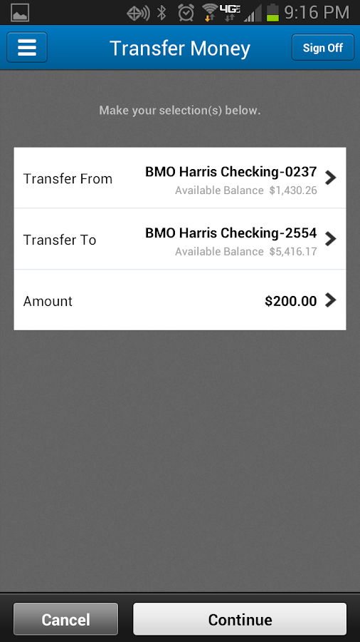 BMO Harris Mobile Banking- screenshot