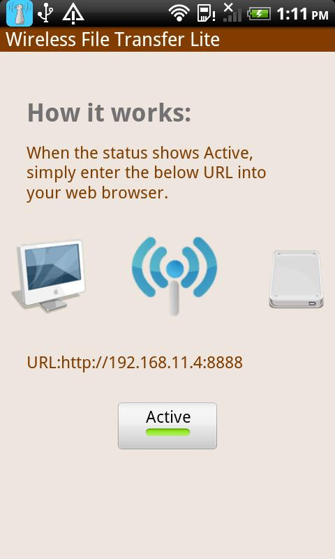 Wireless File Transfer Lite - screenshot