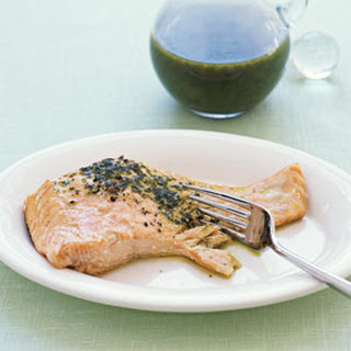 Salmon with Basil Oil.