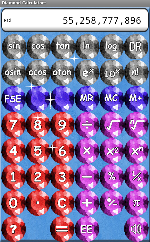 Calculator with Diamonds - screenshot