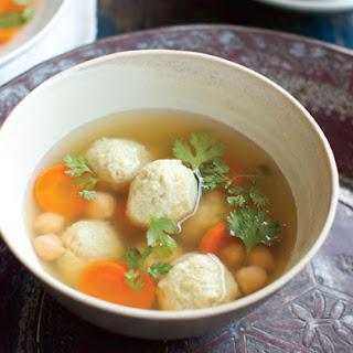 "Persian ""Matzoh Balls"" with Chickpeas and Chicken (Gondi)."