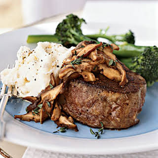 Beef Tenderloin Steaks with Shiitake Mushroom Sauce.