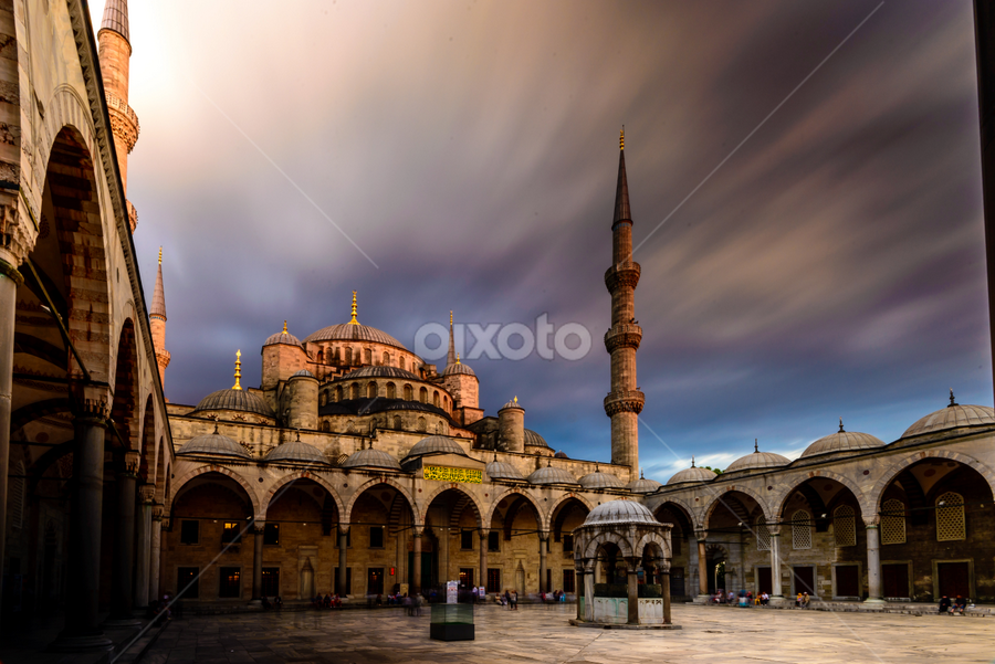 Blue mosque with moving cloud by Krissanapong Wongsawarng - Buildings & Architecture Places of Worship ( mosque, worshop, cloud, turkey, istanbul )