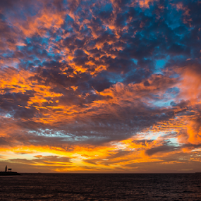 Indian Ocean Sunset by Photoxor AU - Landscapes Sunsets & Sunrises ( clouds, indian ocean, orange, fremantle, blue, ship, sunset, australia, lighthouse, ocean, , colorful, mood factory, vibrant, happiness, January, moods, emotions, inspiration, golden hour, sunrise, relax, tranquil, relaxing, tranquility )