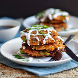 Carrot Fritters with Chipotle and Cheddar.