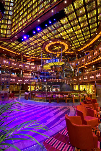 Carnival-Dream-Atrium - Carnival Dream's open and airy atrium is a kaleidoscope of colors.