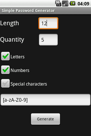 Simple Password Generator- screenshot