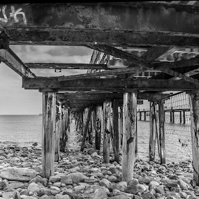 Seen Better Days by Sharon Wills - Buildings & Architecture Decaying & Abandoned ( water, sand, waves, jetty, beach, rapid bay,  )