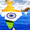 india flag, India map icon