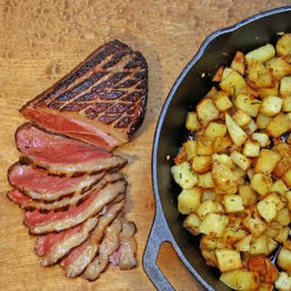 Marinated Duck Breast with Sauteed Potatoes.