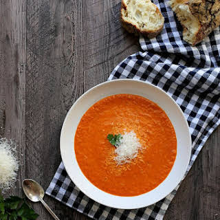 Creamy Roasted Red Pepper Soup.