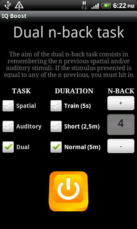 IQ Boost - dual n-back task- screenshot