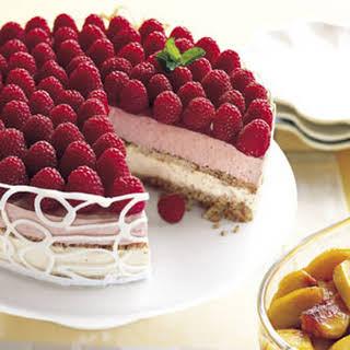 Raspberry and Peach Parfait Cake.