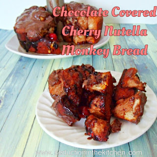 Chocolate Covered Cherry Nutella Monkey Bread