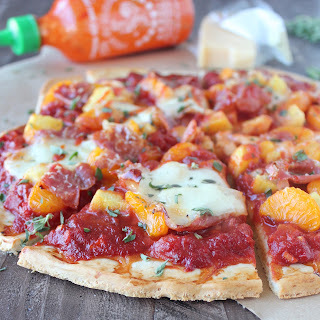 Hawaiian Pizza with Sriracha Pizza Sauce