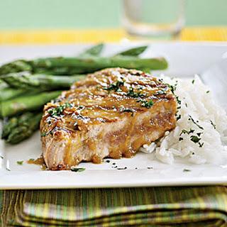 Tuna Steaks with Wasabi-Ginger Glaze.