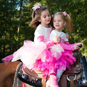 Giddy up! by Russell McFarland - Babies & Children Children Candids ( horseback, sisters, riding horse, horse, children, kids, siblings, riding horses )