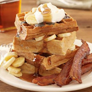 Banana Waffles with Candied Bacon.