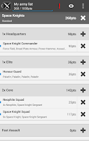 Screenshot of BattleScribe Mobile Pro