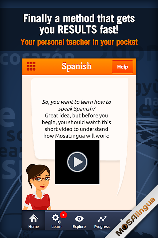 Learn Spanish with MosaLingua - screenshot