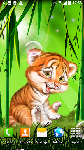 Cute tiger cub live wallpaper