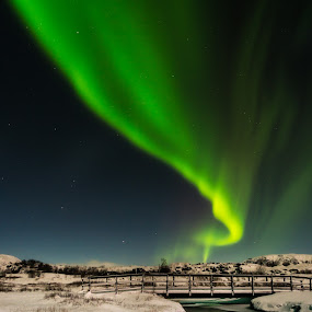 Lights in there by Kaspars Dzenis - Uncategorized All Uncategorized ( iceland, winter, nature, snow, northern lights, aurora, bridge, travel, landscape, renewal, green, trees, forests, natural, scenic, relaxing, meditation, the mood factory, mood, emotions, jade, revive, inspirational, earthly )