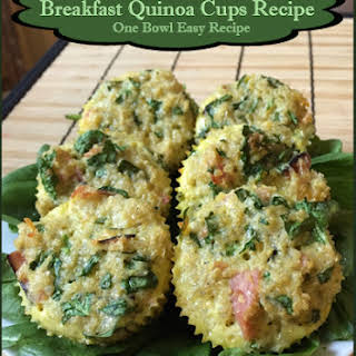 Ham, Cheese, and Spinach Breakfast Quinoa Cups.