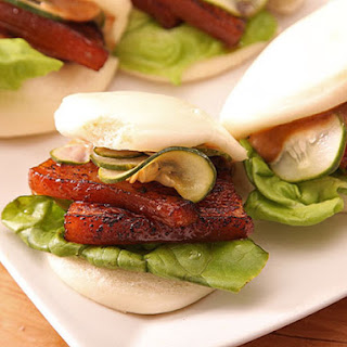 Sous-Vide Pork Belly Buns With Pork Braise Mayonnaise and Quick-Pickled Cucumbers