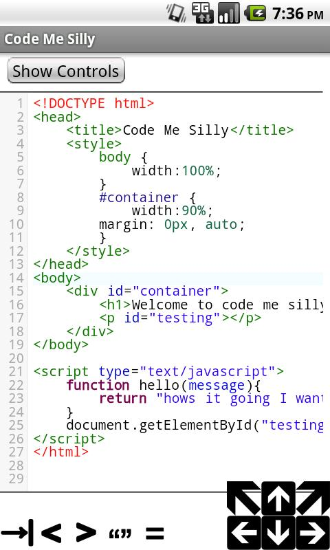 Syntax Highlighted Code Editor- screenshot