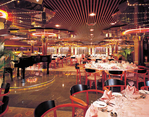 Carnival-Fascination-Sensation-dining-room - The Sensation dining room aboard Carnival Fascination.