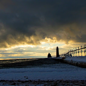 Grand Haven by IS Photography - Landscapes Beaches ( winter, sky, sunset, snow, lighthouse, beach )