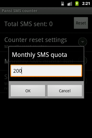 Easy SMS counter plugin - screenshot