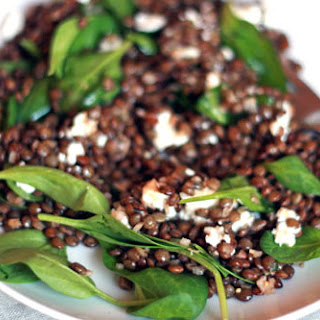 Green Lentil Salad with Baby Spinach and Goat Cheese.