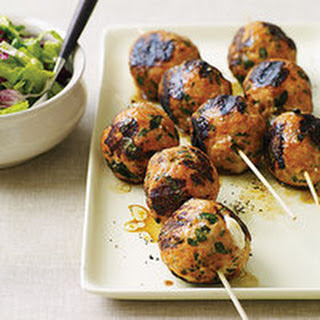 Chicken or Turkey Parm Meatballs with Caesar Slaw