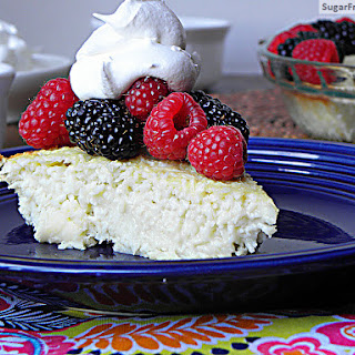 Sugar Free Crustless Coconut Custard Pie {Dairy Free, Gluten Free & Low Carb}.