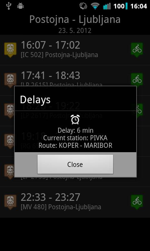 Vlaki - SLO železnice- screenshot