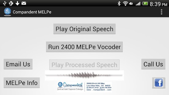 MELPe vocoder by Compandent - screenshot thumbnail