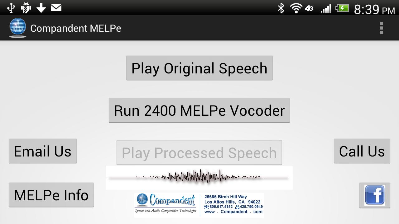 MELPe vocoder by Compandent - screenshot