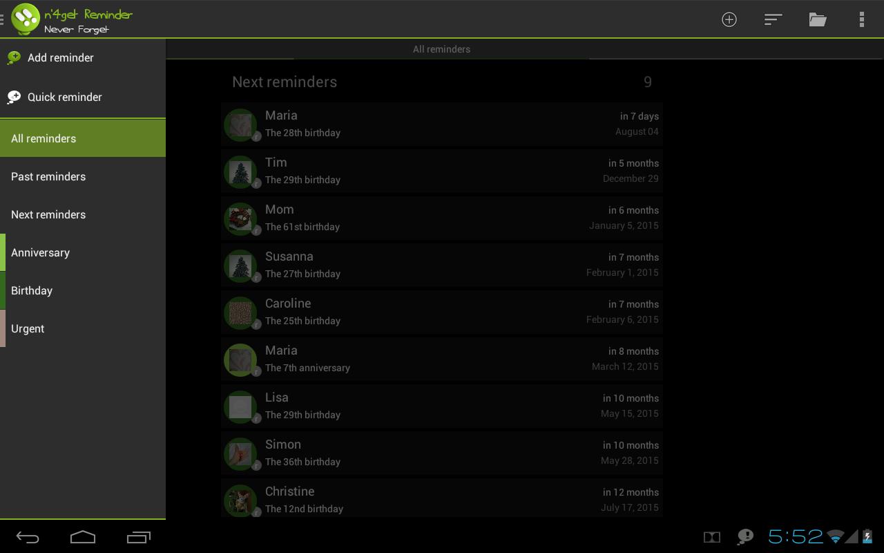n'4get Reminder - screenshot