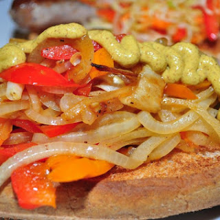"Grilled Veggie ""Sausage"" With Peppers and Onions"