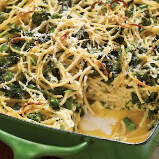 Baked Spaghetti Frittata With Broccoli Rabe And Smoked Mozzarella.